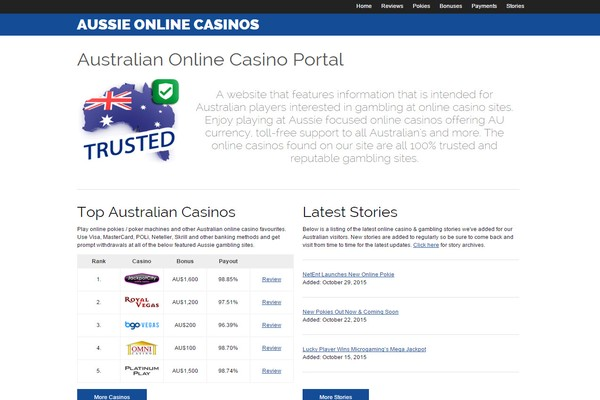 Aussie Online Casinos Screenshot